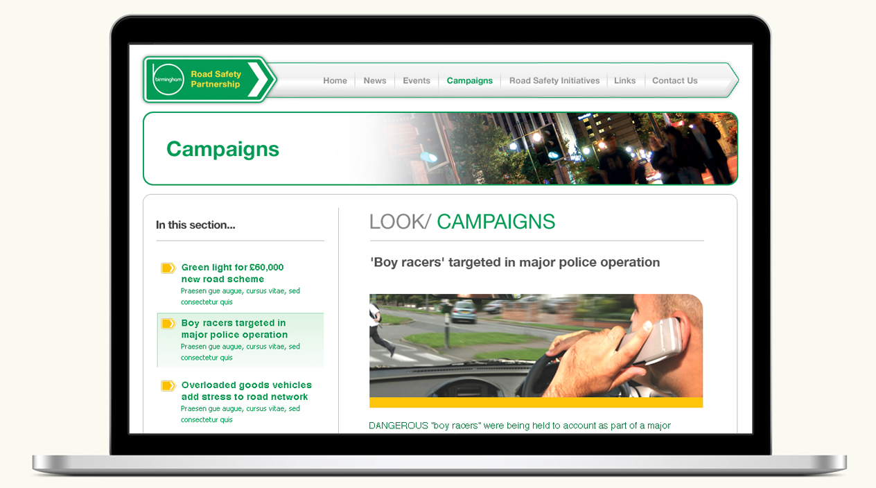 Birmingham Road Safety Partnership Website Campaigns