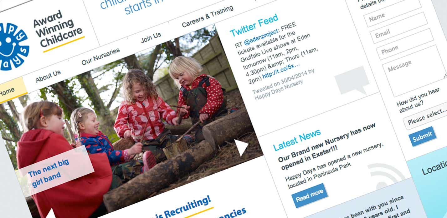 Website Design - Happy Days Nurseries