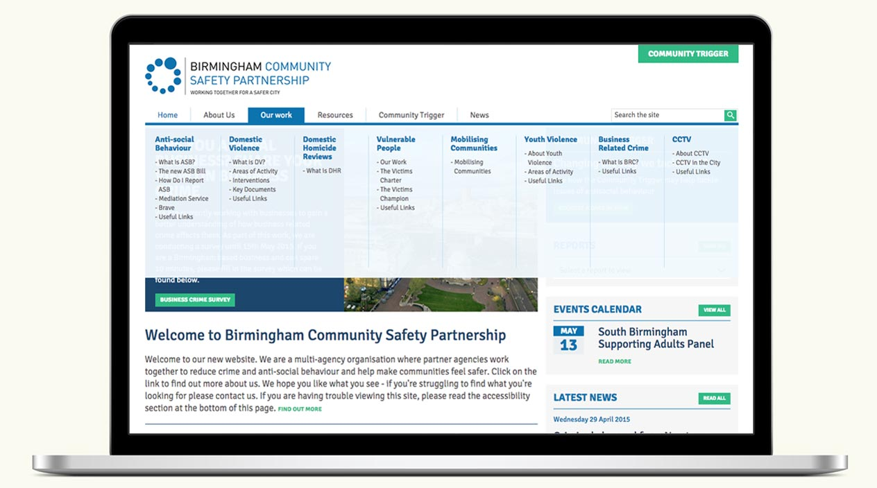 Birmingham Community Safety Partnership Website Home Page Menu