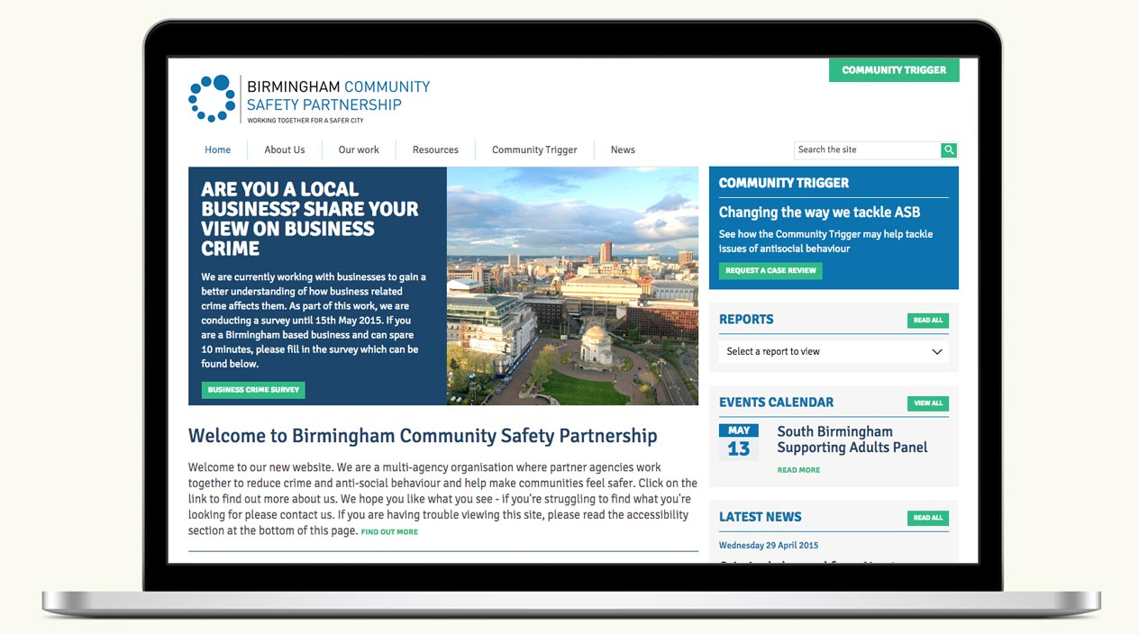 Birmingham Community Safety Partnership Website Home Page