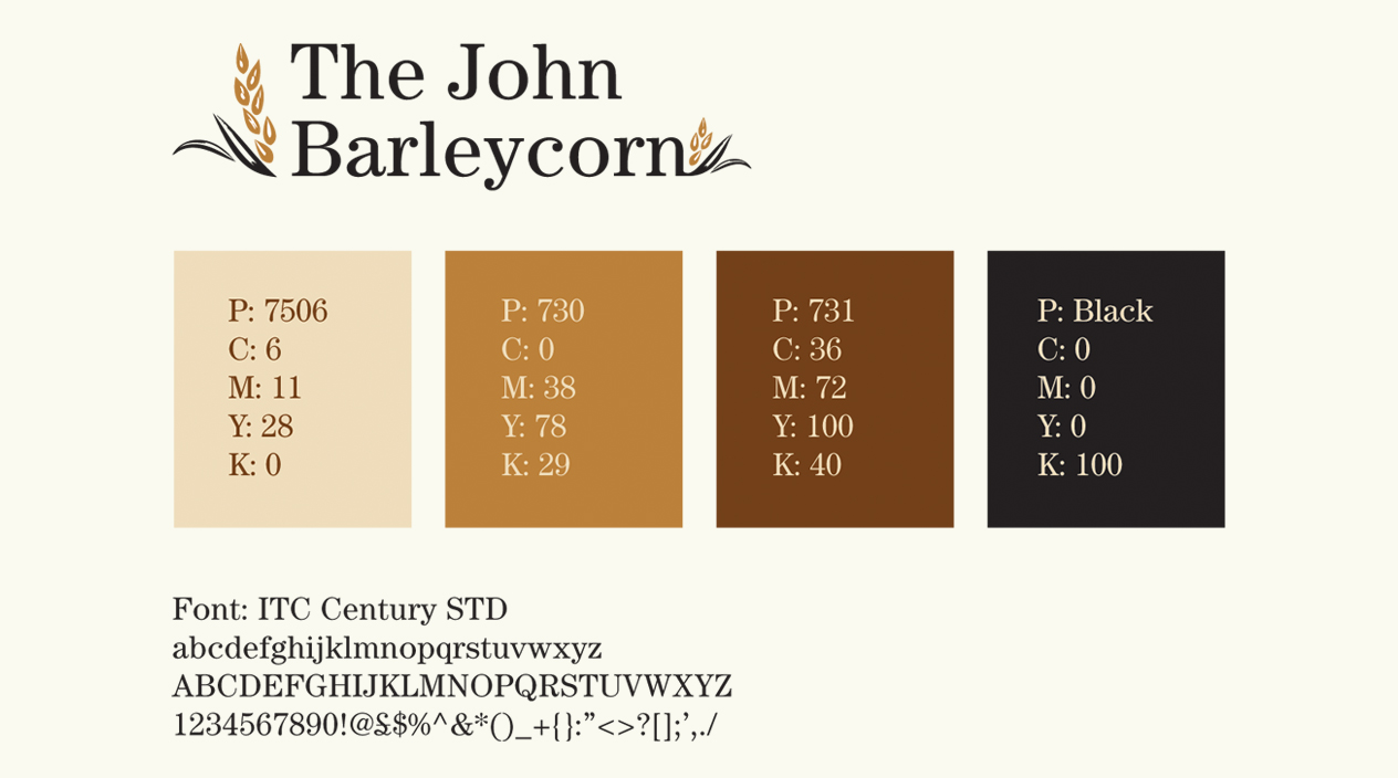 The John Barleycorn Pub Colour Palette