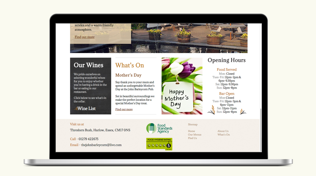 The John Barleycorn Website Homepage 2