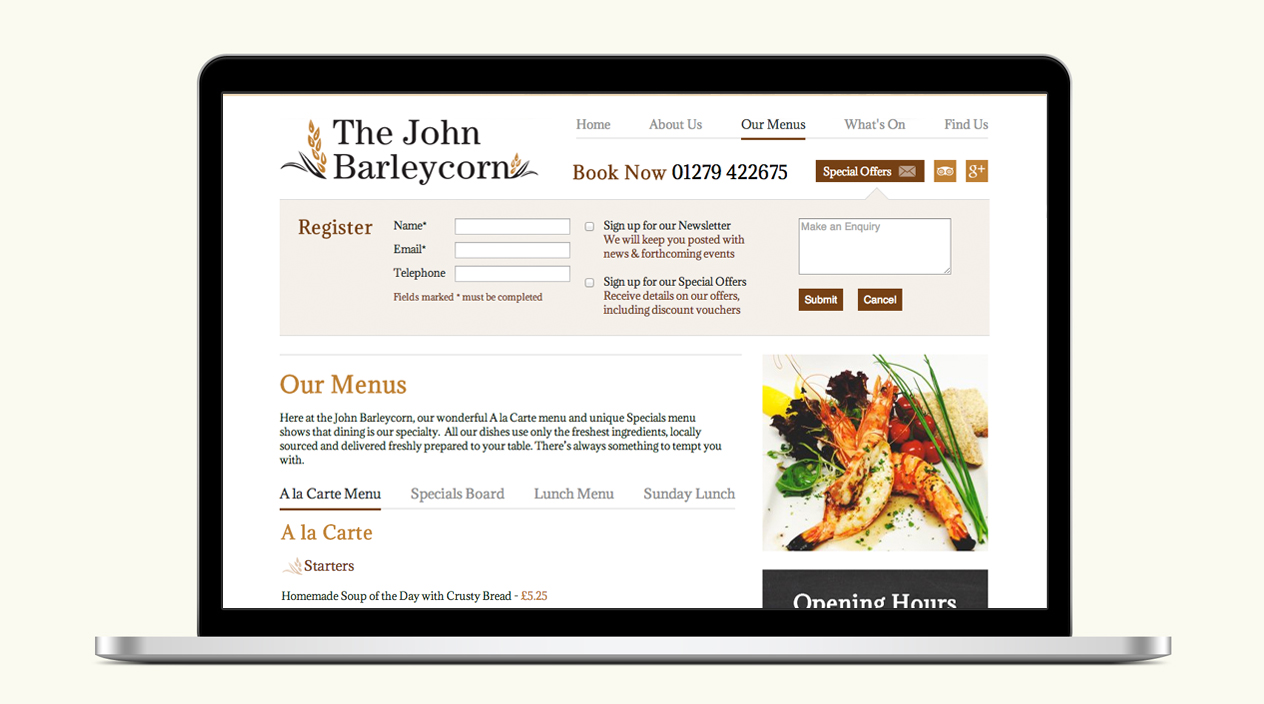 The John Barleycorn Website Our Menus